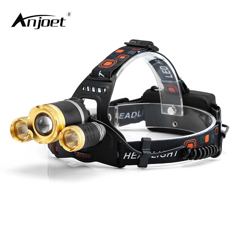 ANJOET <font><b>10000</b></font> lumens rechargeable led headlamp 4-mode 3T6 head flashlight torch xml t6 waterproof <font><b>lights</b></font> headlight 18650 battery