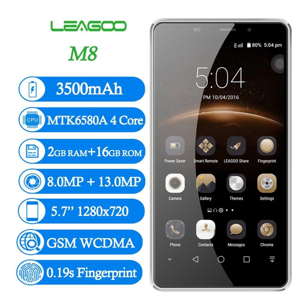 LEAGOO M8 5.7'' Android 6.0 Samrtphone MTK6580A Quad Core 2GB RAM 16GB ROM 3500mAh 13.0 MP Fingerprint ID WCDMA 3G Mobile Phone