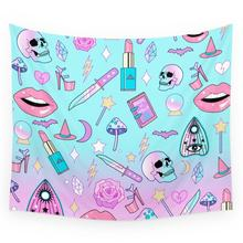 Girly Pastel Goth Heks Patroon Wandtapijten Polyester Home Living Decor Ruimte(China)