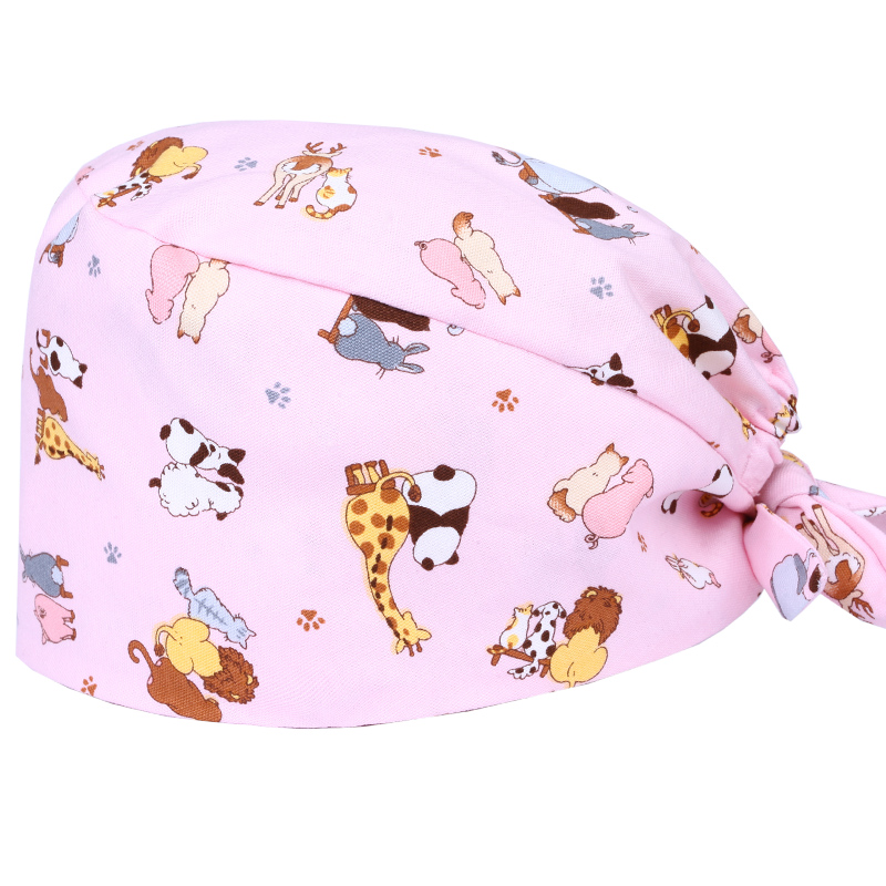 Animals Surgical Caps Women Medical Scrub Caps Hospital OR Nurse Work Hats Veterinary Tieback Skull Caps 100% Cotton Quality Hat