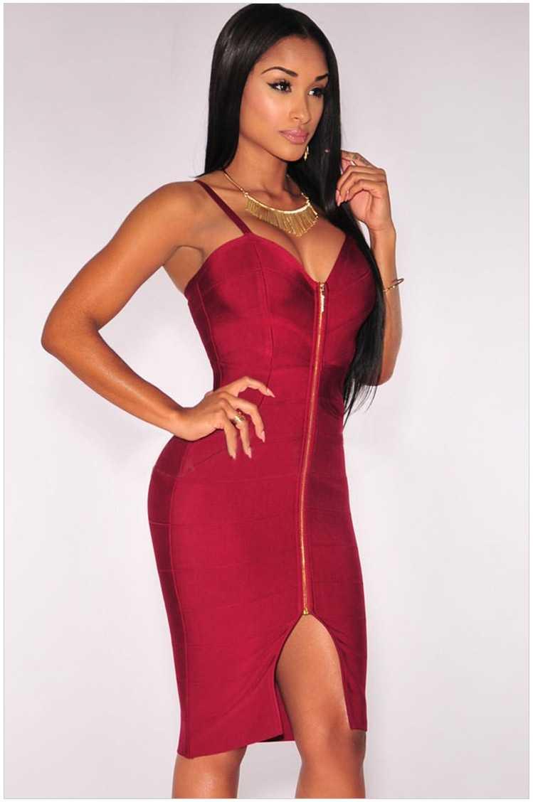 2019 летнее женское утягивающий бандаж платье новые модные сексуальные спагетти ремень v-образным вырезом Сплит Клубные Вечерние платья молния бежево-красное платье