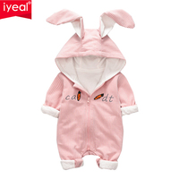 IYEAL New Spring Autumn Baby Rompers Striped Cotton Cute Cartoon Rabbit Infant Girl Jumpsuits Kids Baby Boy Clothes Outfits