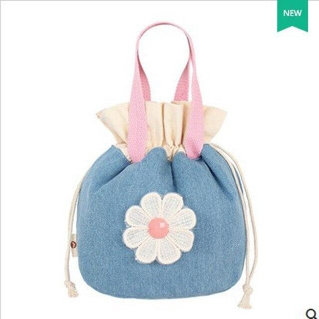 Fashion Retro Women Canvas Bucket Bags Cute Flowers Lace Fresh Girls Casual Drawstring Handbag Pouch Big Purse