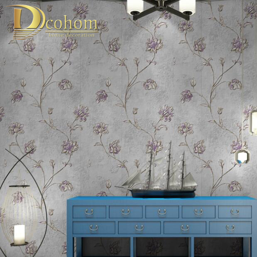 European Vintage Luxury Embossed 3D Flower Wallpaper For Walls Bedroom Living room Sofa  Non Woven Wall paper Rolls