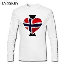 Coração vermelho Da Bandeira T-shirt Para Homens Noruega Bandeira do País  Do Vintage Encabeça T Camisa de Alta Qualidade Cheia d. ab8d1f28e8b85
