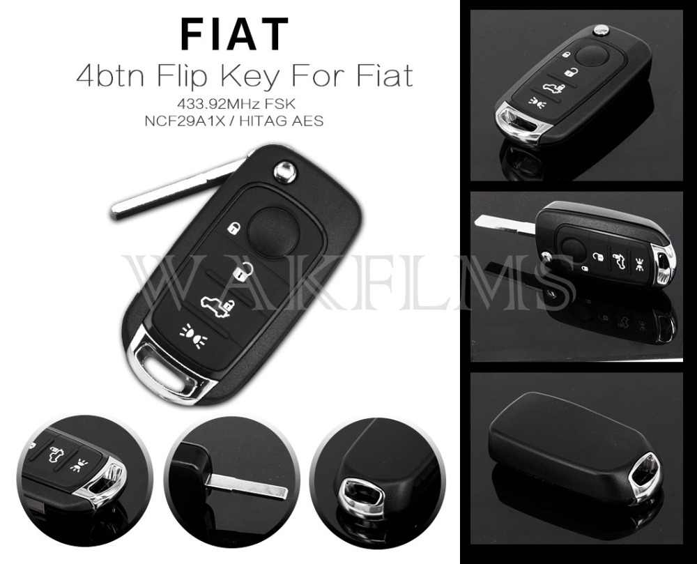 4btn Flip Remote Car Key 433 92MHz For Fiat with NCF29A1X HITAG AES Only  board OEM