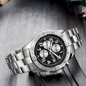 Image 4 - MEGIR Business Men Watch Luxury Brand Stainless Steel Wrist Watch Chronograph Army Military Quartz Watches Relogio Masculino