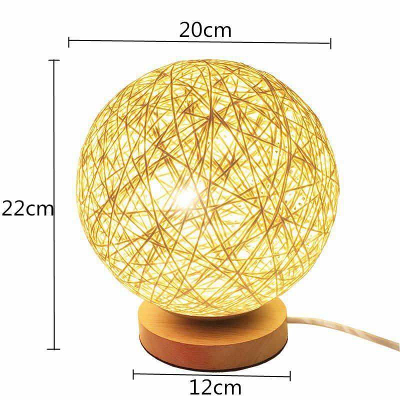 Деревянная настольная лампа плетеная ротанговая шариковая настольная лампа красочная Usb Tafellamp для подарка спальня прикроватное освещение светодио дный Lamplampara De Mesa