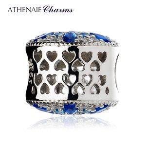 Image 2 - ATHENAIE 925 пробы серебристо голубые кристаллы и прозрачный CZ кристаллический снежинка очарование подходит для всех европейских браслетов ожерелье