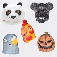 Latex Full Face Masks Cosplay Bear Chicken Penda Pigeon Pumpkin Animal Head Mask Fancy Dress Scary