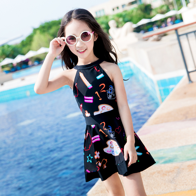 df0d57fd47ca5 New One Piece Children Swimwear Kids Swim Suit Dress Girls Swimsuit With  Skirt Cover Up Graffiti
