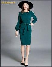 European Fashion Style New Elegant Autumn Long Sleeved Dress Women O-Neck Lantern Sleeve Slender Waist Dresses Bow Ties Design