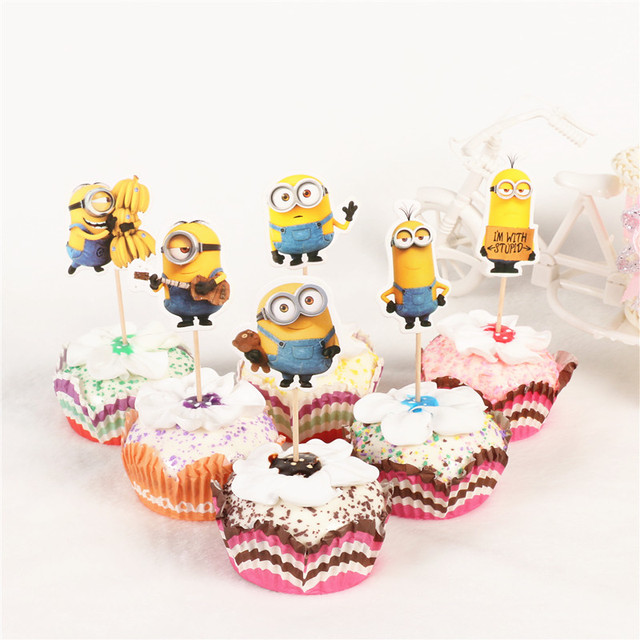 Aliexpress Com Buy New 24pcs Cartoon Minions Cupcake Toppers Pick Funny Kids Birthday Party Decoration Event Party Wedding Cake Topper Supplies From