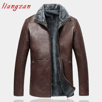 Men PU Leather Coat Jacket Winter Snow Warm Fleece Casual Motorcycle Coats Male Brand Big Size Slim Fit Trench Coat  SL-F041