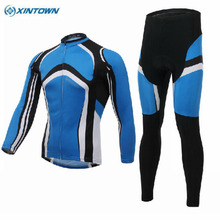 XINTOWN Cycling Blue Bike Long Sleeve Clothing Set Ropa Ciclismo Bicycle Wear Suit Jersey Shorts S-4XL