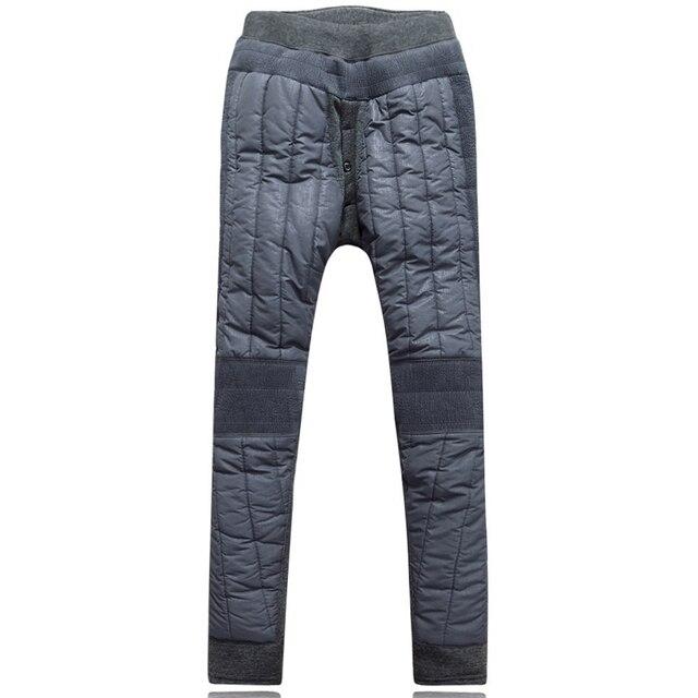 Men's Winter Sleep Bottoms Pants Seemless Single High Elastic Waist Knee Cap Thickening Warm Trousers Winter Hot down Pants Men