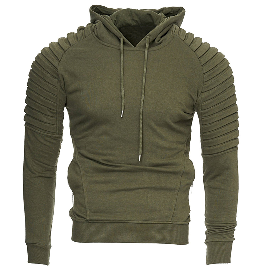 Men Sleeve Pleated Hoodies 2018 Autumn And Winter Hip Hop Streetwear Hoodies Clothes For Men Solid Color Long Sleeve Hooded