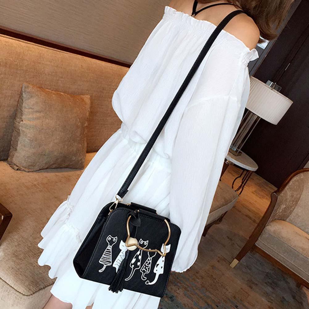 Fashion Women Handbags 2017 Women Scrub Leather Shoulder Bags Cute Cartoon Cats Printed Small Crossbody Bags 88 Best S