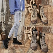 Liren 2019 Winter Fashion Cool Women Mid-Calf Boots Flock Short Plush Lace-up Casual Waterproof for