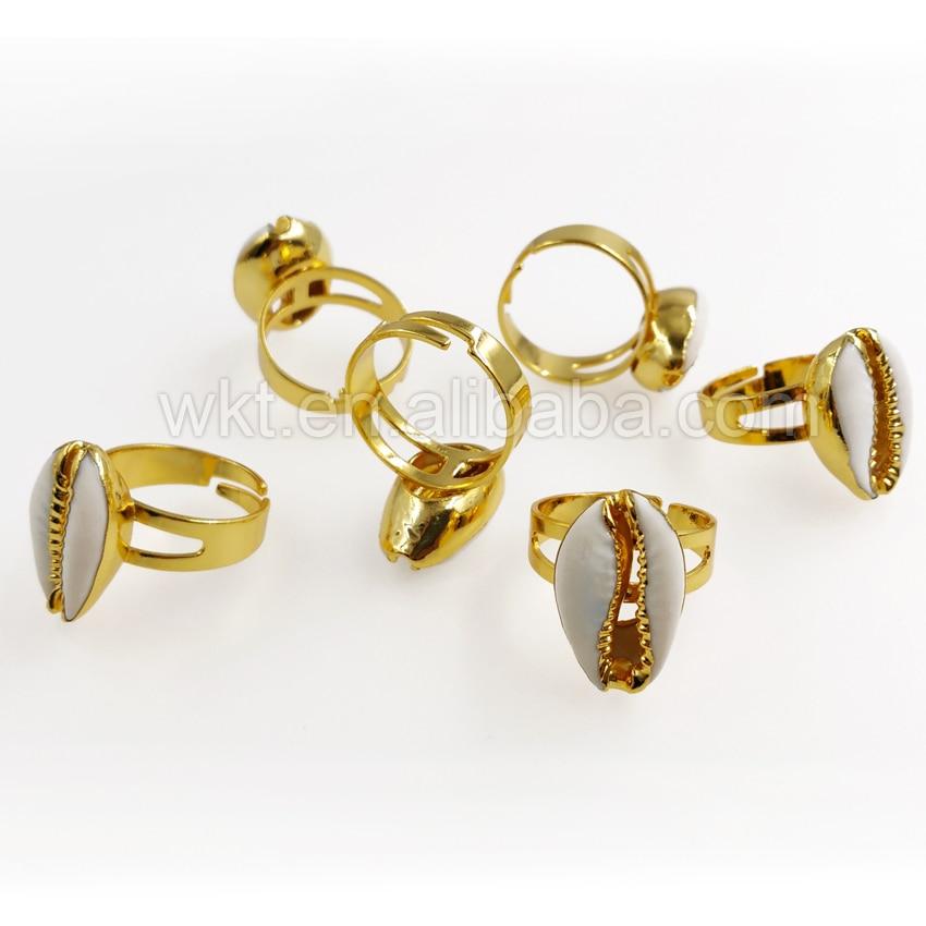 WT R249 nowy złoty i srebrny porcelanka pierścień, hurtownie 10 sztuk naturalne z muszli cowrie pierścień dla kobiet dziewczyna prezent regulowany rozmiar w Pierścionki od Biżuteria i akcesoria na  Grupa 3