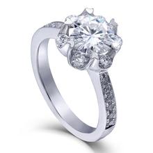TransGems 1.4 CTW Carat Lab Grown (DF) Moissanite Diamond Wedding Engagement Ring Solid 14K White Gold Ring for Women