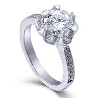 TransGems 1.4 CTW Carat F Color Lab Grown Moissanite Diamond Wedding Engagement Ring Solid 14K White Gold Ring for Women