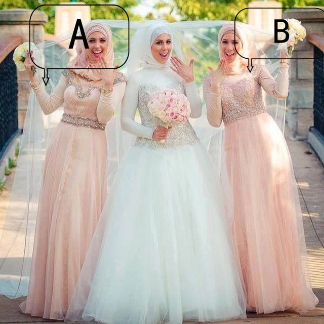 Demure Pearl Peach Color Bridesmaid Dresses Muslims Wedding Party Dress Long Sleeves Chiffon Beading Appliques Bridesmaid Gown