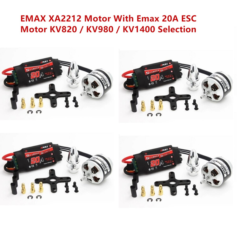 4pcs/lot EMAX XA2212 KV820 / KV980 / KV1400 Brushless Motor With Emax Simonk 20A ESC for RC Drone rc quadcopter diy robocat drone with camera 270mm fs i6 transmitter emax brushless motor simonk esc cc3d flight controller