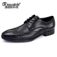 OdescalchiNewFashion MenLuxury Crocodile Embossed Leather Men's Blue Business Derbys Formal Shoes Men Wedding Office Dress Shoes