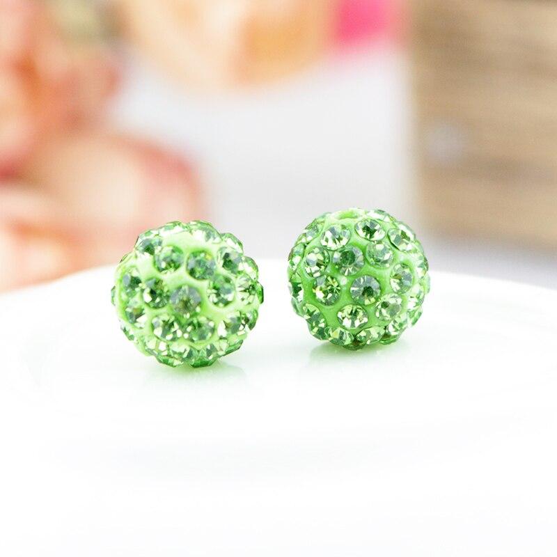 8mm 10mm Light Green Color Micro Pave Disco Ball Crystal Shamballa Beads.jewerly making bead 100pcs/lot! Bracelet DIY jewelry