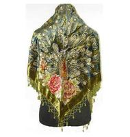 Army Green Women's Triangle Velvet Silk Beaded Embroidery Shawl Scarf Peafowl Free Shipping WS 076