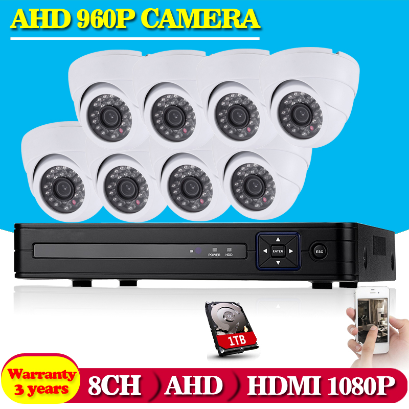 8CH 1080P AHD DVR Kit With 24Pcs Leds 35M IR Night Vision Mini CCTV 1 3MP