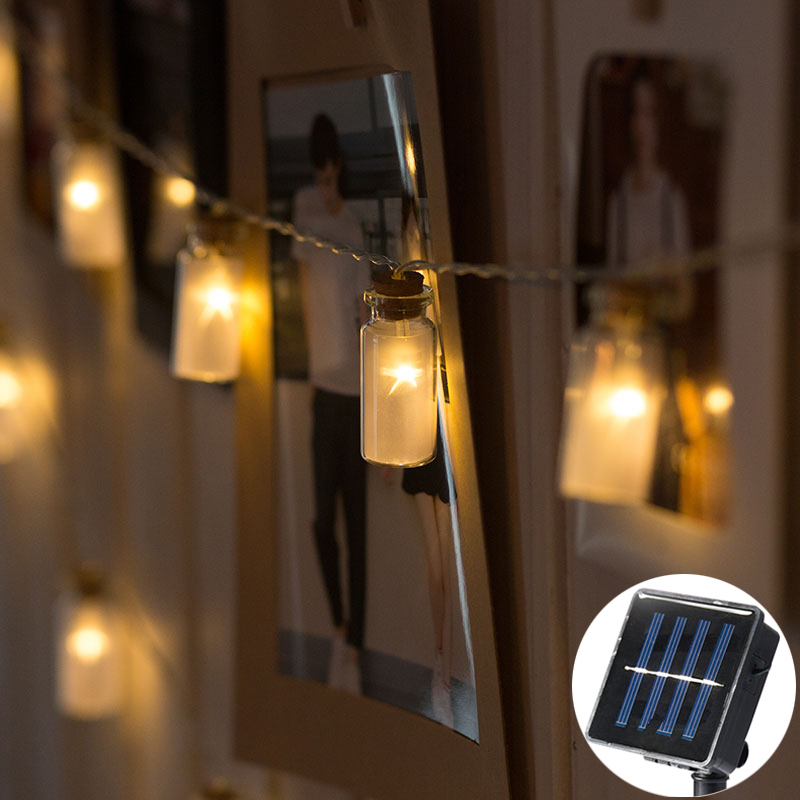 20Led Fairy Glass Wishing Bottle Solar Power String Lights Luminaria 5m LED Decor For Christmas Garland On The Window New Year 20led fairy metal gold watering can battery operated string lights 3m led decor for christmas garland on the window abajur