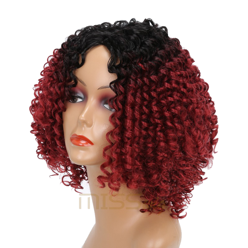 Image 3 - MISS WIG Long Black Ombre Red Wigs Kinky Curly Wigs for Black Women Synthetic Hair High Temperature Fiber Afro Women-in Synthetic None-Lace  Wigs from Hair Extensions & Wigs