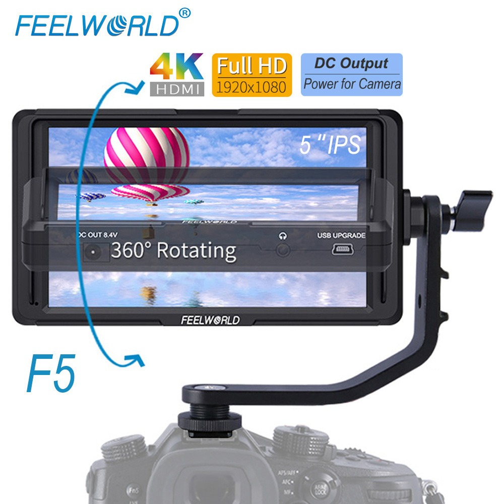 Feelworld F5 5 inch On Camera Field DSLR Monitor Full Small HD 1920x1080 LCD IPS DC Power Output for Camera 4K HDMI Input Output f450 4 5 inch ips 1280x800 hd 4k field lcd camera monitor with hdmi input output uhd peaking focus and other monitor accessory
