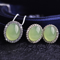 LUXURY Wedding Jewelry Set Natural Green Stone Pendant Necklace Silver Plated CZ Diamond Crystals Stud Earrings