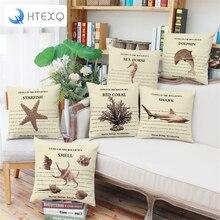 Serie de animales de La vida Marina impreso poliéster throw pillow case funda de cojín de lino Tiburones, tortugas, delfines