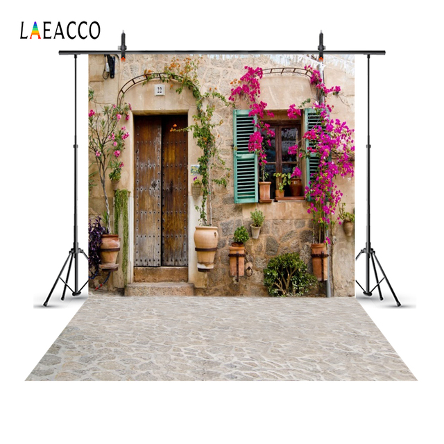 Laeacco Old Rural House Window Door Flower Yard Porch Wreath Baby Portrait Photo Backgrounds Photographic Backdrops Photo Studio