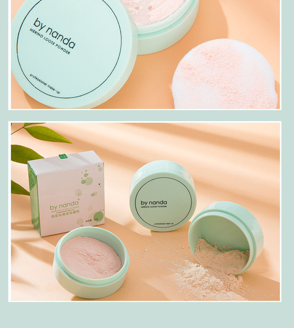 BY NANDA 3 Color Translucent Pressed Powder With Puff Smooth Face Makeup Foundation Waterproof Loose Powder 13