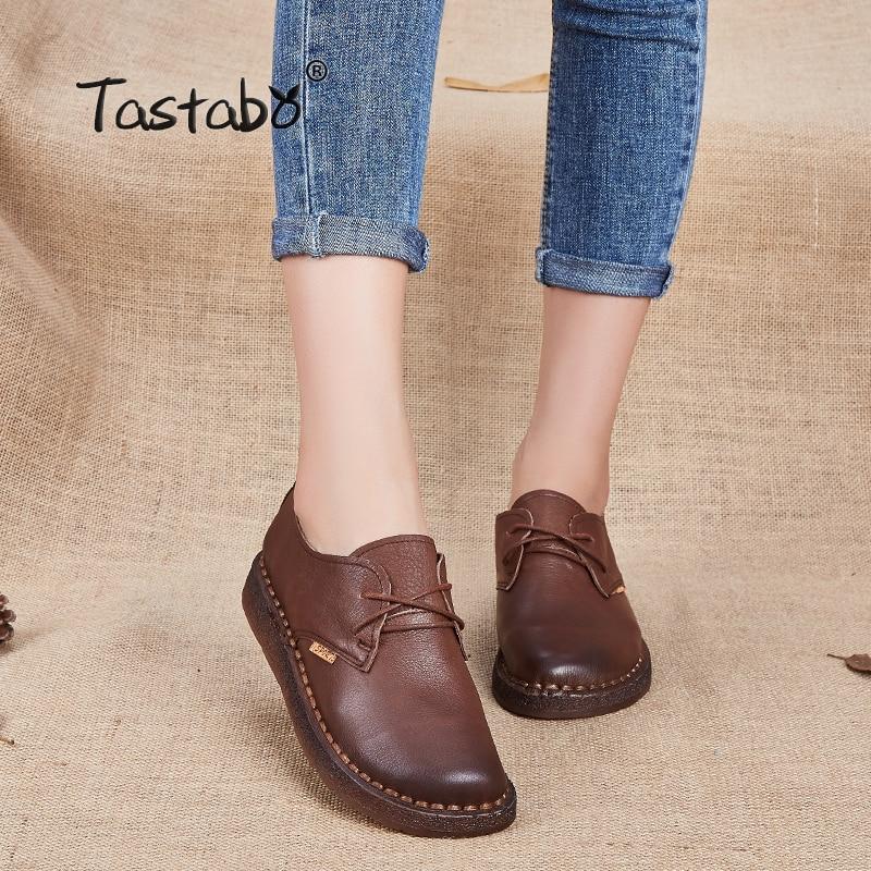 Tastabo Новый ручной работы 2017 Лоферы для женщин женская обувь Повседневное Рабочая обувь для вождения Женские туфли-лодочки Пояса из натуральной кожи без каблука Плюс Размеры