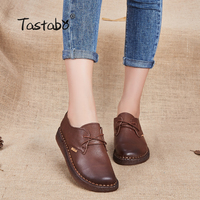 Tastabo New Handmade shoe 2017 Loafers Women Shoes Casual Work Driving Shoes Women Flats Genuine Leather Flat Plus Size
