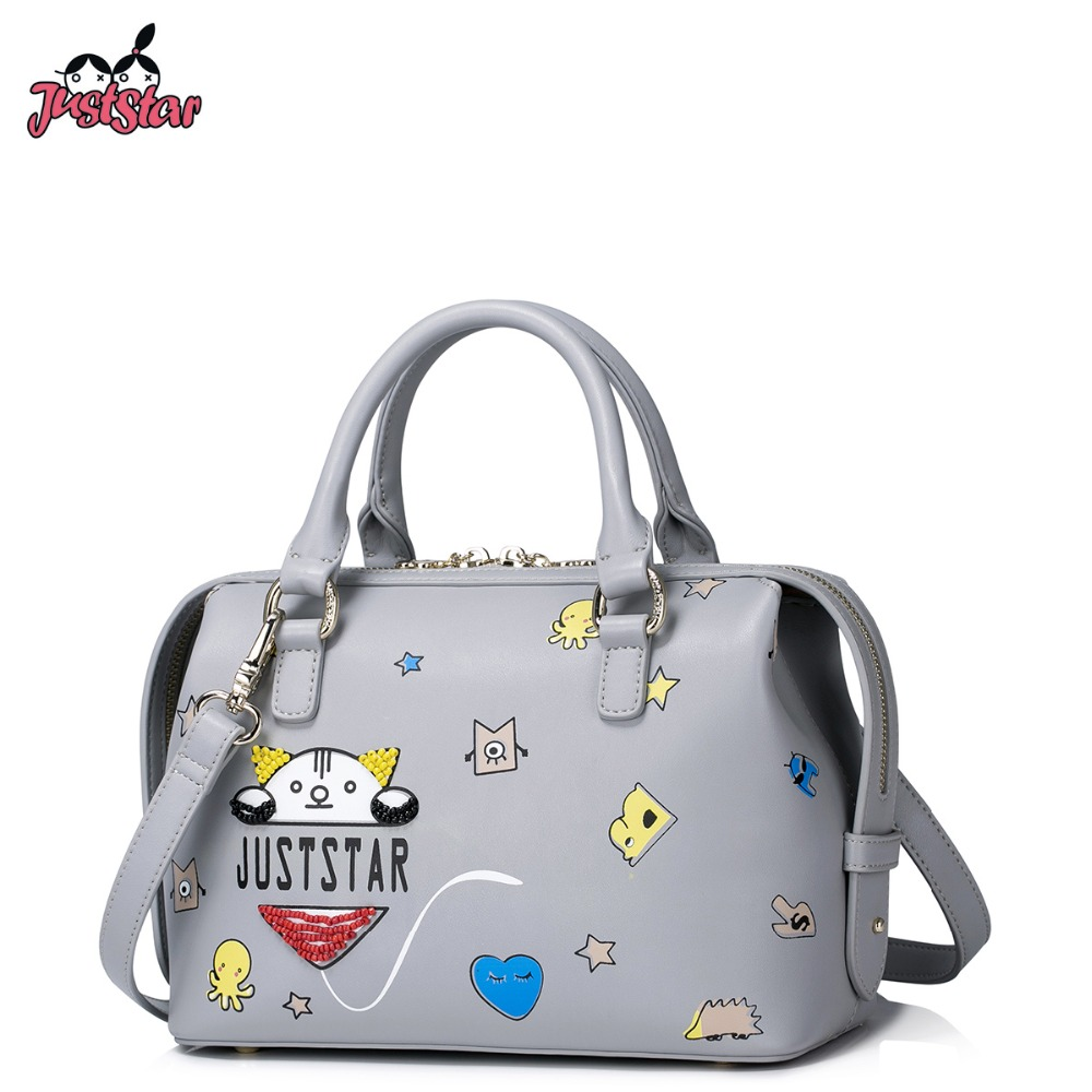 JUST STAR Women PU Leather Handbag Ladies Fashion Cartoon Printing Tote Shoulder Bag Female Boston Beading Messenger Bags JZ4225 just star women s pu leather handbag ladies cartoon cat embroidery tote shoulder purse female leisure messenger bags jz4492