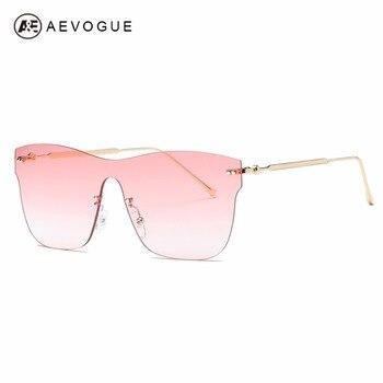 a19e84f818 AEVOGUE gafas de sol para mujer de gran tamaño sin montura siameses  espectáculo lente marca diseñador de moda gafas de sol AE0570