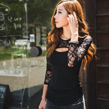 New Summer Fashion Sexy Blouse Women Lace O-Neck Long Sleeve Lady Top Shirt Casual Blouse Shirt Tops Black lace Blouse Plus Size(China)