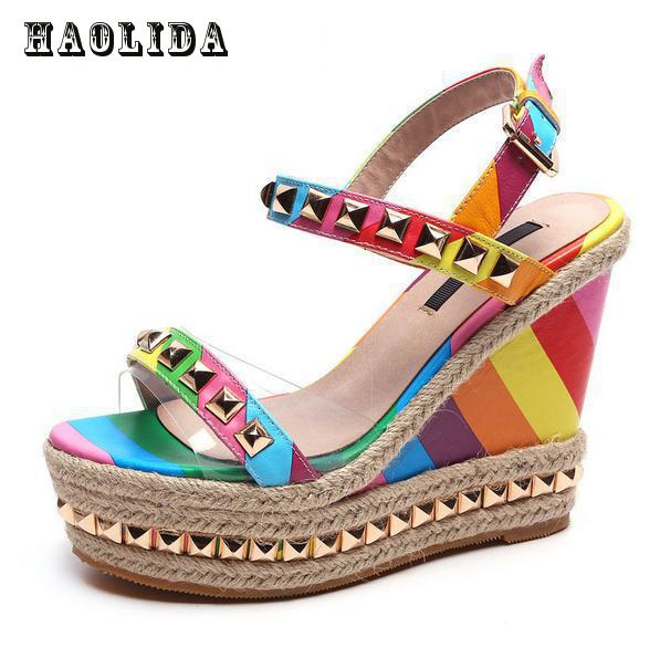 2017 Wedge Sandals Rainbow Ethnic High Heeled Leather Shoes Women Fish Head Rivet Party Sandals Girls Glitter Platform Sandals women s valentine wedge high heeled
