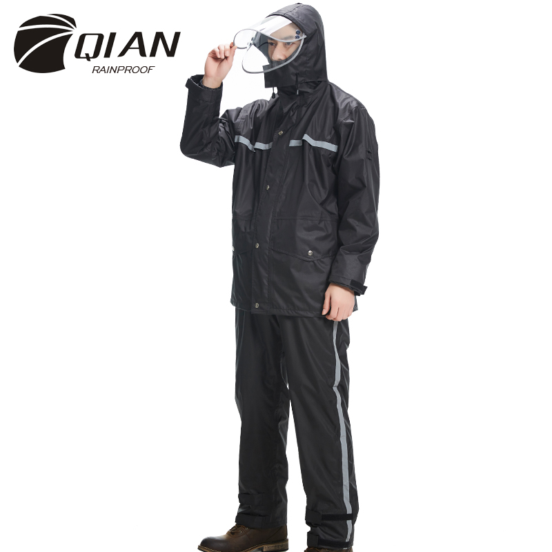 QIAN RAINPROOF New Impermeable Raincoat Adult Jacket Pants Set Unisex Rain Poncho Thicker Police Rain Gear Motorcycle Rainsuit