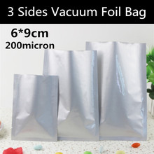 New 500pcs 6x9cm (2.4'' * 3.5'') 200micron Pure Foil  Bag 3 Sides Vacuum Foil Bag Food Bag