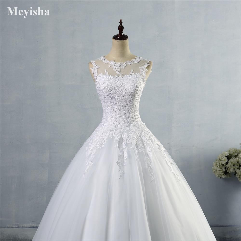 ZJ9036 2016 2017 mežģīnes Balts Ivory A-Line Kāzu kleitas līgava - Kāzu kleitas - Foto 5