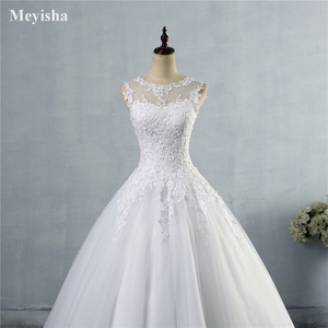 Image 5 - ZJ9036 2019 2020 レースホワイトアイボリー A ラインのウェディングドレス花嫁のドレスガウンヴィンテージプラスサイズ顧客メイドのサイズ 2  28 ワット