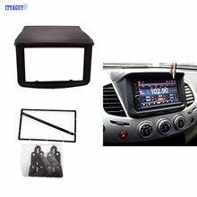 Top Doble 2 Din Radio DVD Estéreo Dash Panel De Montaje Kit de instalación Recortar Marco Frontal Fascia para Mitsubishi Pajero Sport Triton